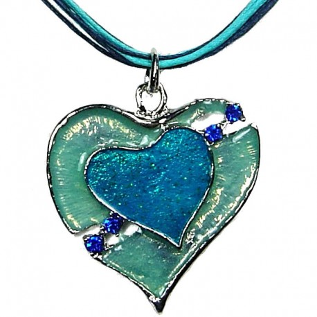 Chic Fashion Women Girls Gift, Costume Jewellery, Blue Enamel Heart In Love Cord Necklace