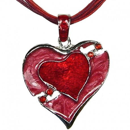 Chic Fashion Women Girls Gift, Costume Jewellery, Red Enamel Heart In Love Cord Necklace