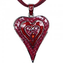 Red Enamel Puffy Heart Cord Necklace