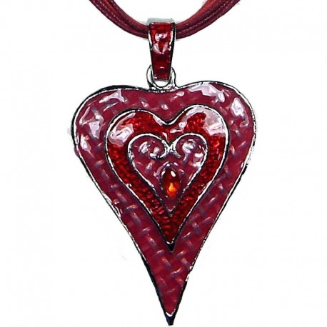 Chic Fashion Women Girls Gift, Costume Jewellery, Red Enamel Puffy Heart Cord Necklace