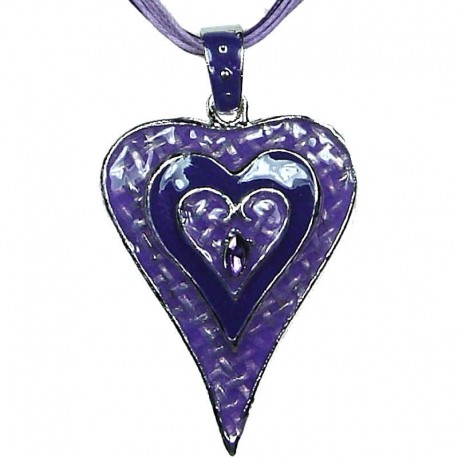 Chic Fashion Women Girls Gift, Costume Jewellery, Purple Enamel Puffy Heart Cord Necklace
