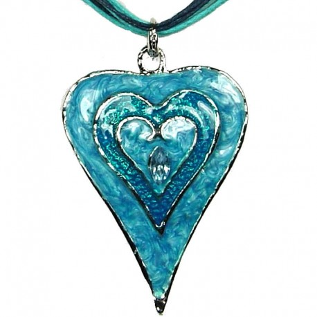Chic Fashion Women Girls Gift, Costume Jewellery, Blue Enamel Puffy Heart Cord Necklace