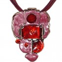 Red & Pink Enamel Bubbly Cord Necklace