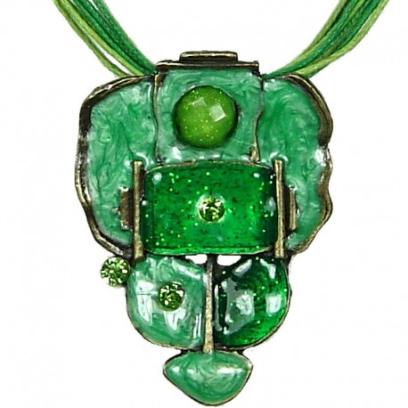 Hip Hop Costume Jewellery, Fashion Modern Women Girls Gift, Green Enamel Bubbly Cord Necklace
