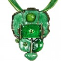 Green Enamel Bubbly Cord Necklace