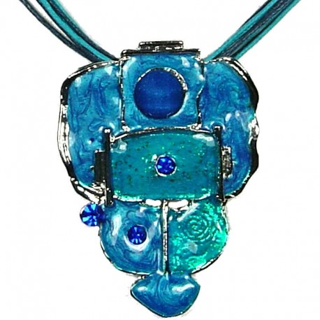 Hip Hop Costume Jewellery, Fashion Modern Women Girls Gift, Blue Enamel Bubbly Cord Necklace