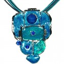 Blue Enamel Bubbly Cord Necklace