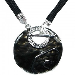 Black Enamel Greek Circle T-Bar Cord Necklace