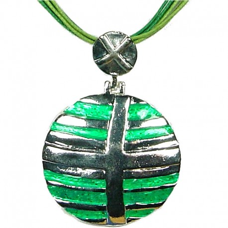 Round Costume Jewellery, Fashion Young Women Gift, Silver & Green Enamel Circle Cord Necklace
