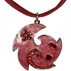 Red & Pink Enamel Swirl Wave Cord Necklace