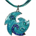 Blue Enamel Swirl Wave Cord Necklace