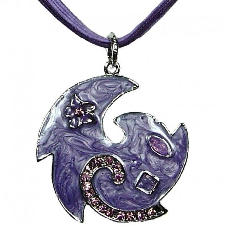 Round Costume Jewellery, Fashion Young Women Girls Gift, Purple Enamel Swirl Wave Cord Necklace