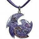 Purple Enamel Swirl Wave Cord Necklace
