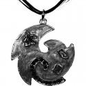 Black Enamel Swirl Wave Cord Necklace