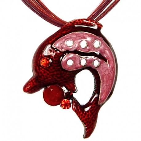 Cute Costume Jewellery, Fashion Young Women Girls Gift, Red & Pink Enamel Dolphin Pendant Cord Necklace