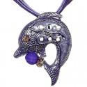 Purple Enamel Dolphin Cord Necklace