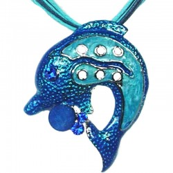Blue Enamel Dolphin Cord Necklace