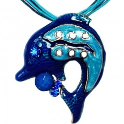Royal Blue Enamel Dolphin Cord Necklace