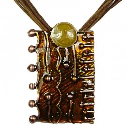 Brown Enamel Rectangle Cord Necklace