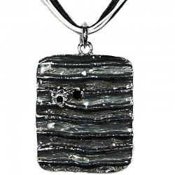Black Enamel Rectangle Cord Necklace
