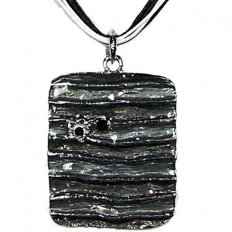 Cool Costume Jewellery, Fashion Young Women Girls Gift, Black Enamel Rectangle Cord Necklace