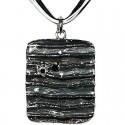 Black Enamel Rectangle Cord Necklace