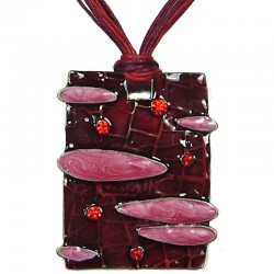 Burgundy Enamel Pink Cloudy Rectangle Cord Necklace