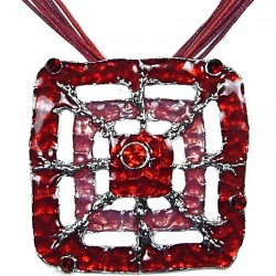 Red Enamel Square Web Cord Necklace