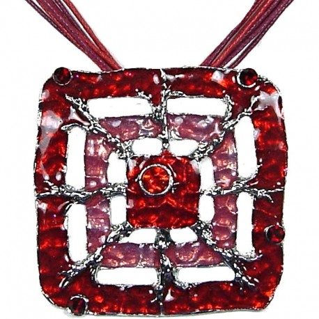 Coole Costume Jewellery, Fashion Young Women Girls Gift, Red Enamel Square Web Cord Necklace