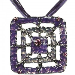 Purple Enamel Square Web Cord Necklace