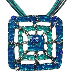 Blue Enamel Square Web Cord Necklace