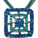 Blue Enamel Square Web Cord Necklace