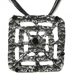 Black Enamel Square Web Cord Necklace