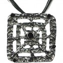 Black Enamel Square Web Cord Necklace