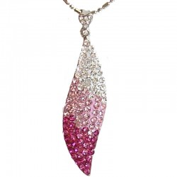 Costume Jewellery Necklace, Fashion Young Women Girls Gift, Pink Elegant Diamante Teardrop Pendant