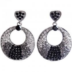 Fashion Costume Jewellery, Black & Clear Monochrome Diamante Loop Circle Drop Earrings