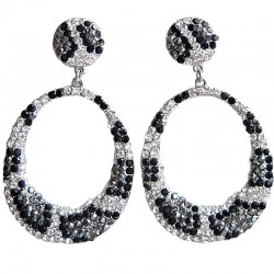 Costume Jewellery, Fashion Women's Gift, Monochrome Diamante Animal Print Loop Dangle Earrings
