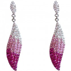 Dressy Costume Jewellery, Fashion Young Women Girls Gift, Pink Elegant Diamante Teardrop Dangle Earrings