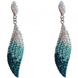 Dressy Costume Jewellery, Fashion Young Women Gift, Blue Elegant Diamante Teardrop Dangle Earrings