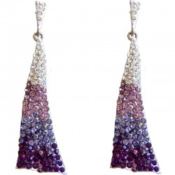 Dressy Costume Jewellery, Fashion Young Women Gift, Purple Diamante Dance Triangle Drop Earrings