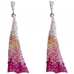 Dressy Costume Jewellery, Fashion Young Women Gift, Pink Diamante Dance Triangle Drop Earrings