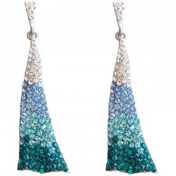 Dressy Costume Jewellery, Fashion Young Women Gift, Blue Diamante Dance Triangle Drop Earrings