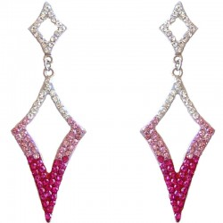 Dressy Costume Jewellery, Fashion Young Women Gift, Pink Diamante Double Lozenge Drop Earrings