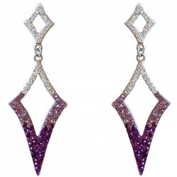 Dressy Costume Jewellery, Fashion Young Women Gift, Purple Diamante Double Lozenge Drop Earrings