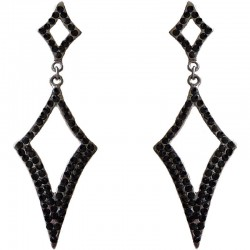 Dressy Costume Jewellery, Fashion Young Women Gift, Black Diamante Double Lozenge Drop Earrings