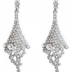 Dressy Costume Jewellery, Fashion Young Women Gift, Clear Diamante Melting Rhombus Drop Earrings