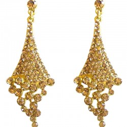 Dressy Costume Jewellery, Fashion Young Women Gift, Gold Diamante Melting Rhombus Drop Earrings
