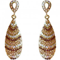 Brown & Gold Diamante Double Teardrop Dress Drop Earrings