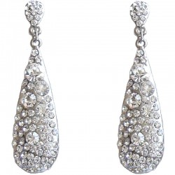 Dressy Costume Jewellery, Fashion Young Women Gift, Clear Diamante Long Teardrop Dress Drop Earrings