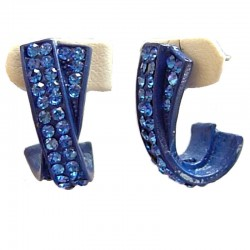 Royal Blue Diamante Cross Oval Semi Hoop Earrings